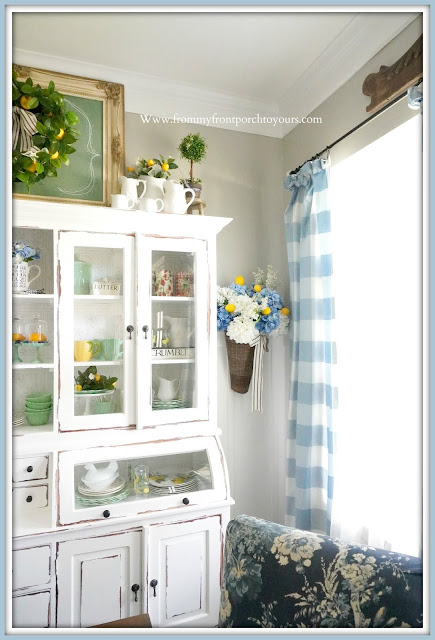 Blue & White-DIY-Floral Arrangement-Hydrangeas-Lemons-Buffalo-Check-Curtains-Bread-Makers-Cabinet--Cottage- Style-English-French Country Farmhouse Dining Room- Late Summer Decor-From My Front Porch To Yours