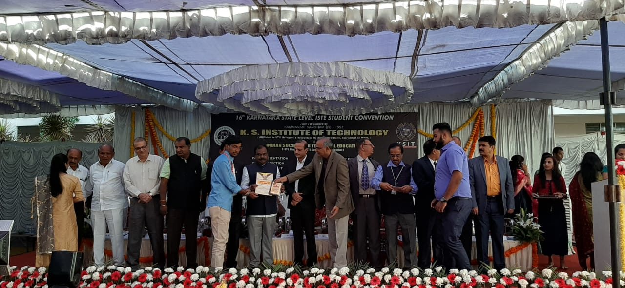 Best student of the chapter award 2019 to Mr. MANISH HUNDEKAR student of CSE branch by ISTE
