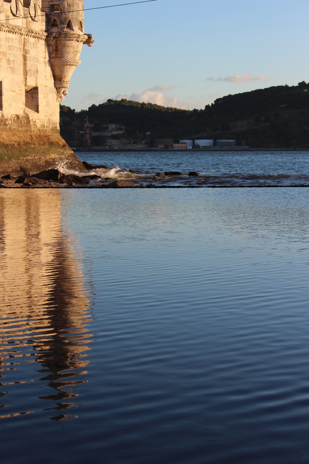 This is a cool shot of the reflection of the Belem Tower in the water.