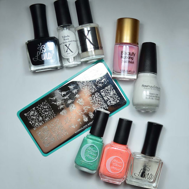 all products used for nail art arranged in flat lay