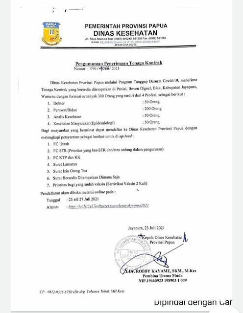 Dinas Kesehatan Papua Buka Penerimaan 300 Orang Tenaga Kontrak Tanggap Darurat COVID-19.lelemuku.com.jpg