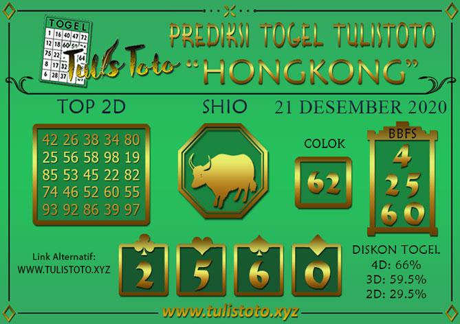 Prediksi Togel HONGKONG TULISTOTO 21 DESEMBER 2020
