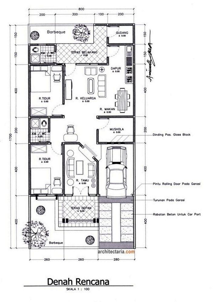 Denah Rumah Ukuran Tanah 6x9 1 Lantai Modern