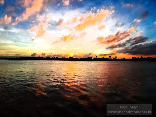 sunset, beautiful sunset, sunset at hooghly river, millennium park sunset, river ganga