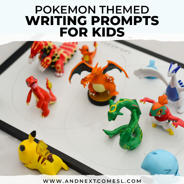 Pokemon educational activity: free printable writing prompts for kids that are Pokemon themed