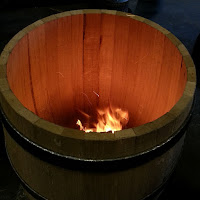 Charring wine barrel
