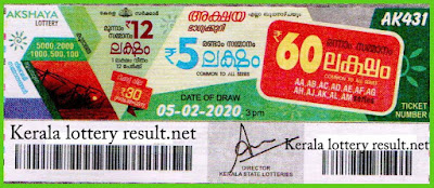 Kerala Lottery Result 05-02-2020 Akshaya AK-431(kerlalotteryresult.net)