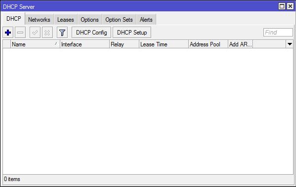 Menu DHCP Server