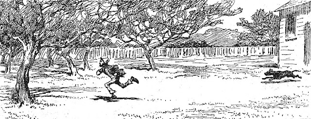 an A. B. Frost drawing of a dog chasing a vagrant from the property