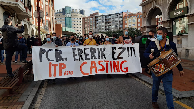 Manifestación contra los despidos en ITP Aero Barakaldo