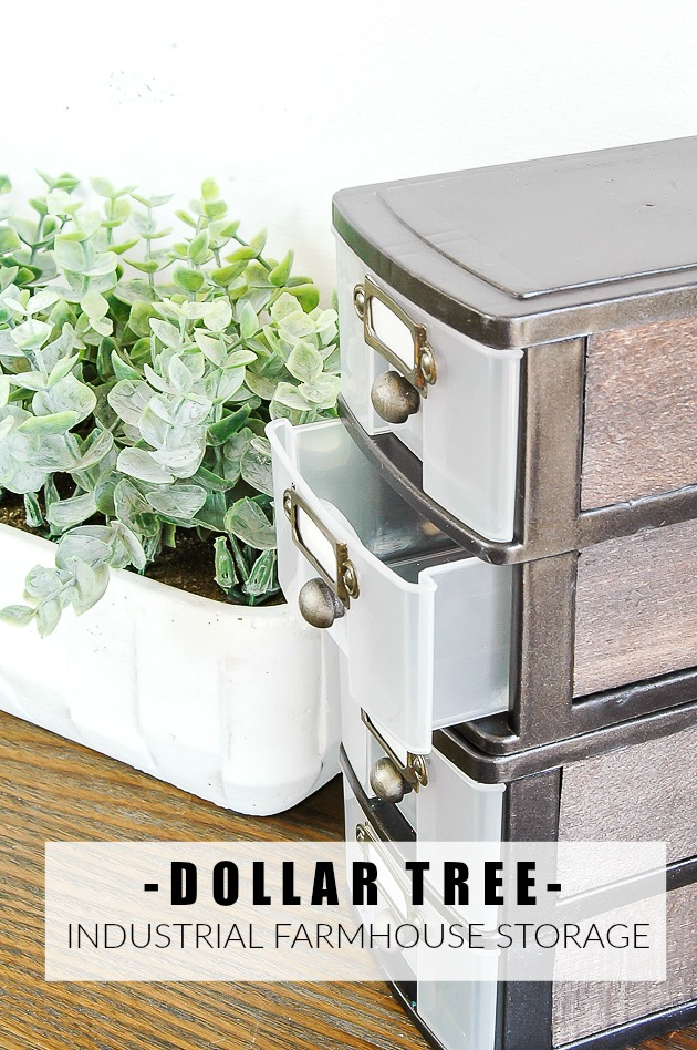 Dollar Tree industrial farmhouse storage drawers