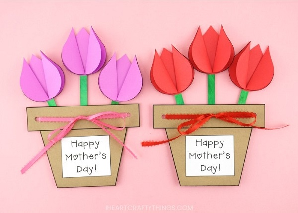 mothers day tulip flower cards