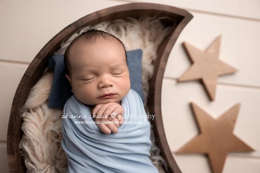 Eugene Oregon newborn photographer, baby with star props
