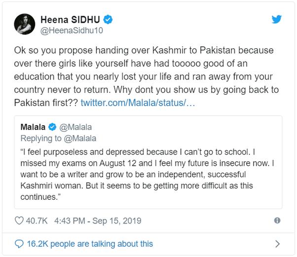 Malala Yousafzai Plea to UN on Kashmiri Student - Hindi