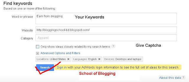 "How to Add and find out ""Low Competition Keywords"" for blogger/Website"