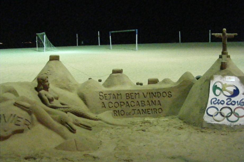 Arta din nisip, plaja Copacabana, Rio de Janeiro