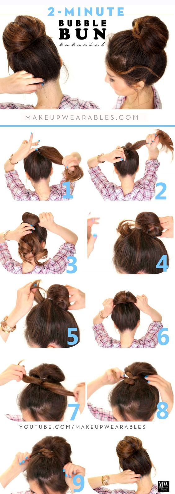 DIY Women's Hairstyles Bubble Bun