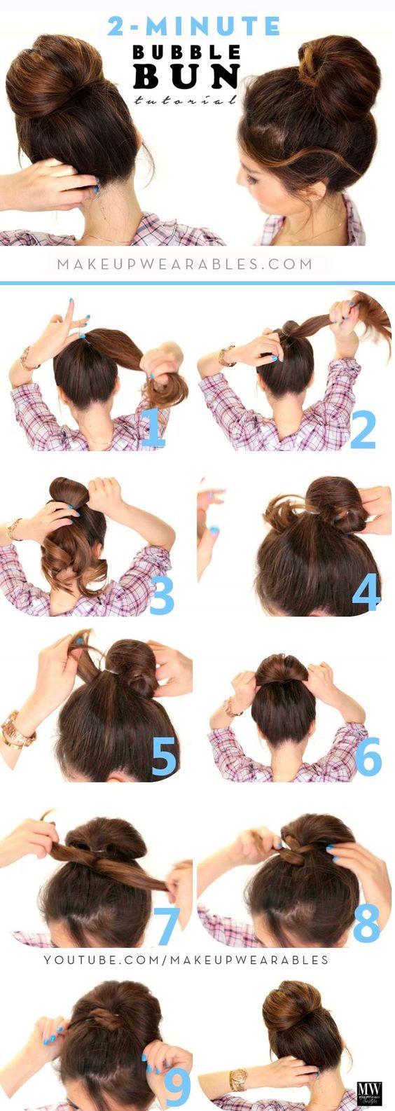 DIY Women's Hairstyles Bubble Bun