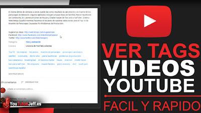saber los tags de los videos de youtube