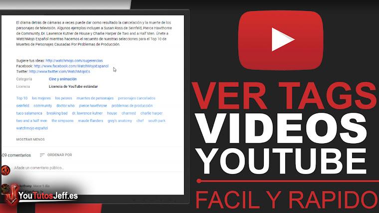 Como ver TAGS de los vídeos de youtube