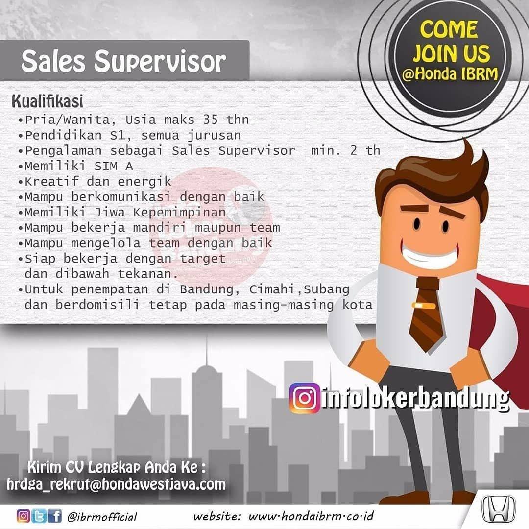 Lowongan Kerja Sales Supervisor & Sales Consultant Honda IBRM Bandung September 2019