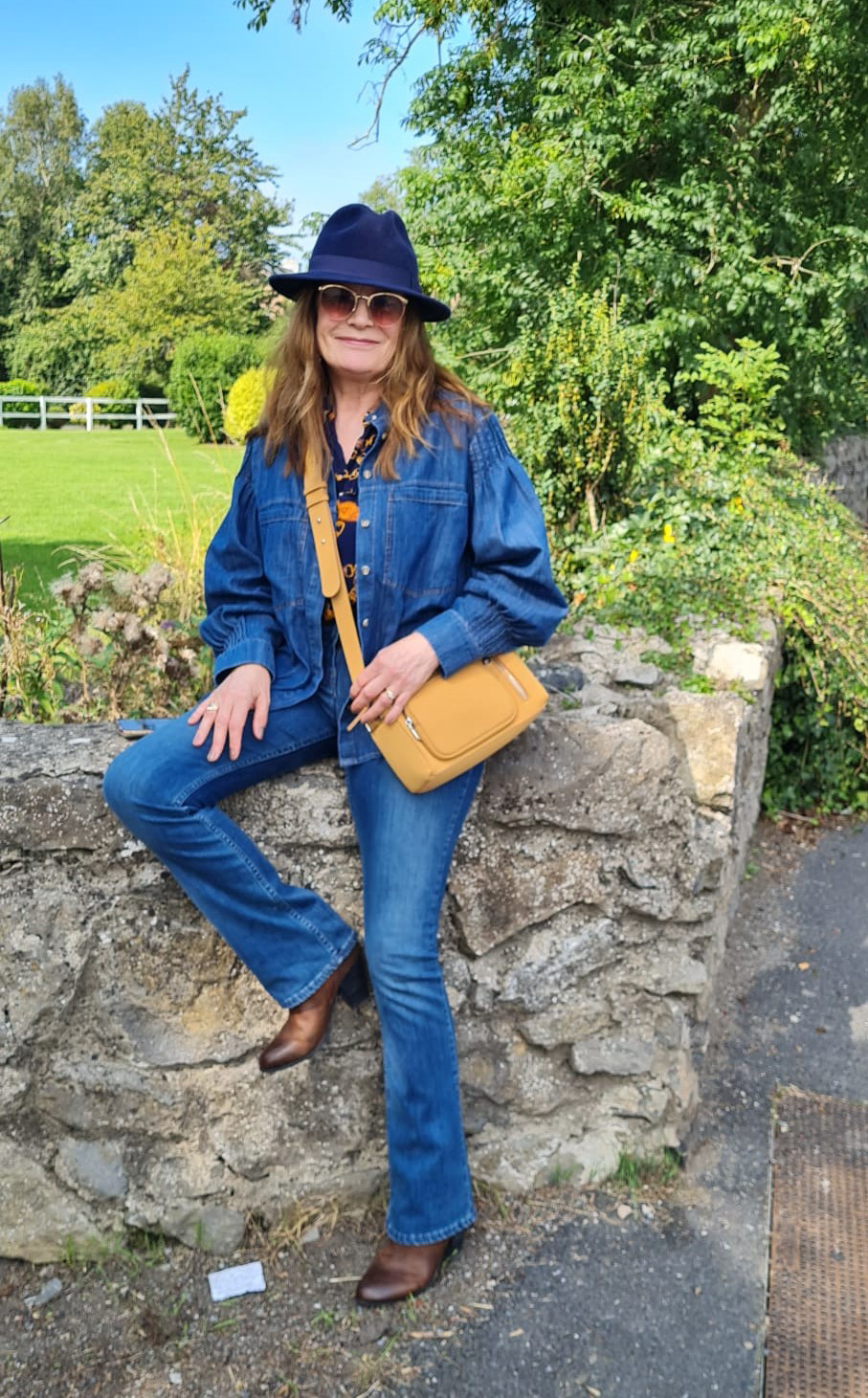 Irish blogger Hilda from Over the Hilda in double denim with statement sleeves