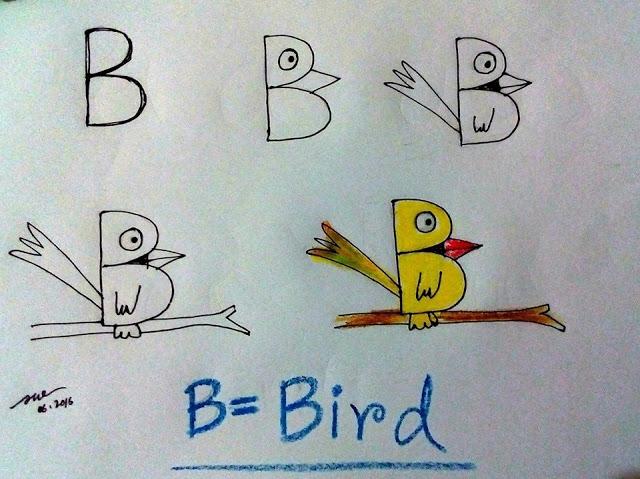 Gambar Burung dengan Huruf