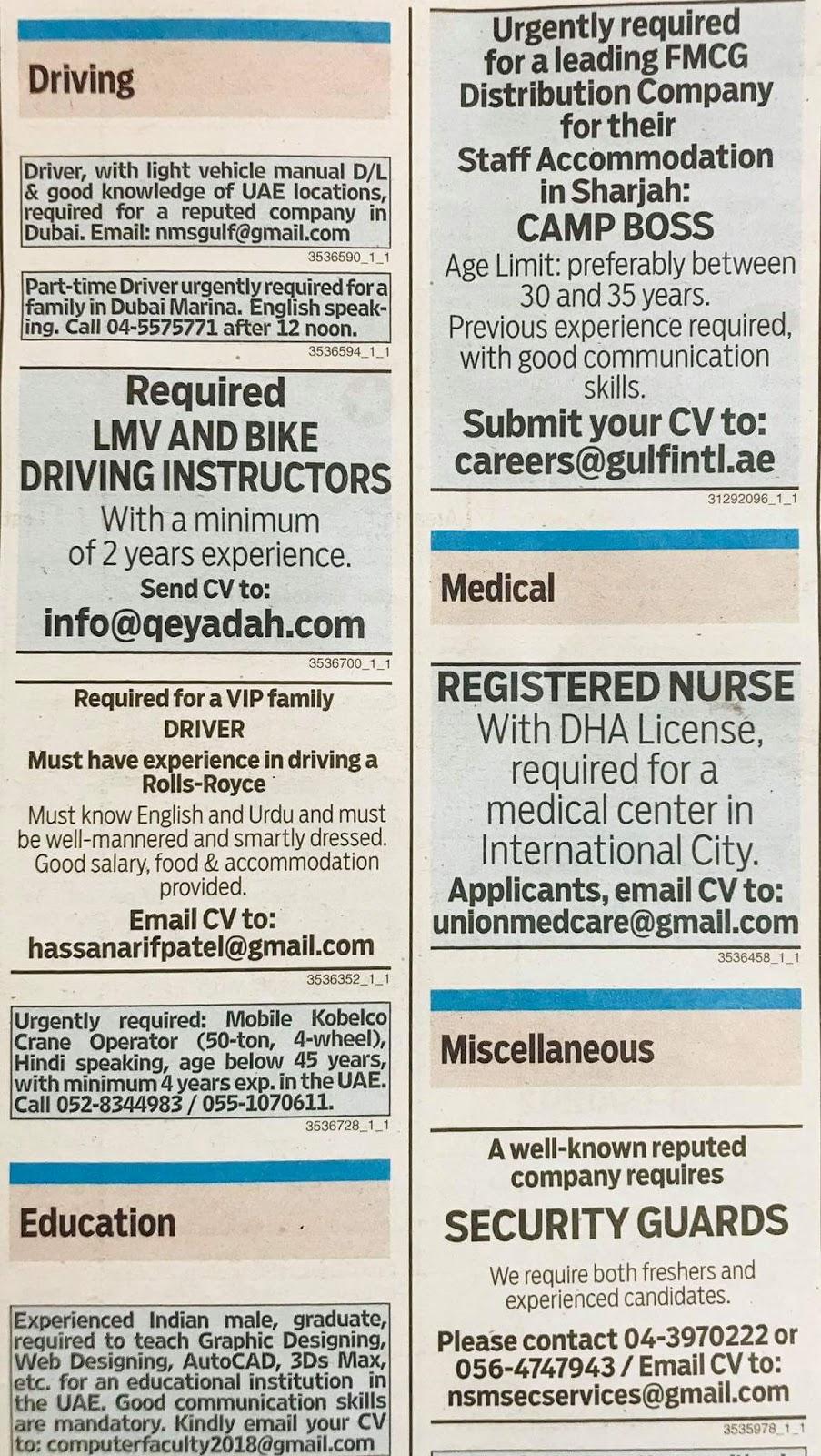 Required following staff for UAE JOBS LOCAL HIRING KHALEEJ