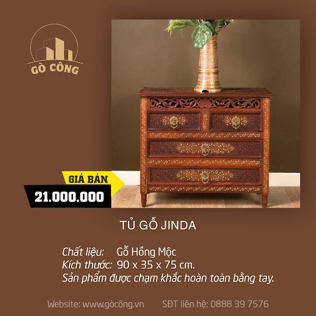 Tủ gỗ Jinda (Jinda Cabinet 4 Drawers)