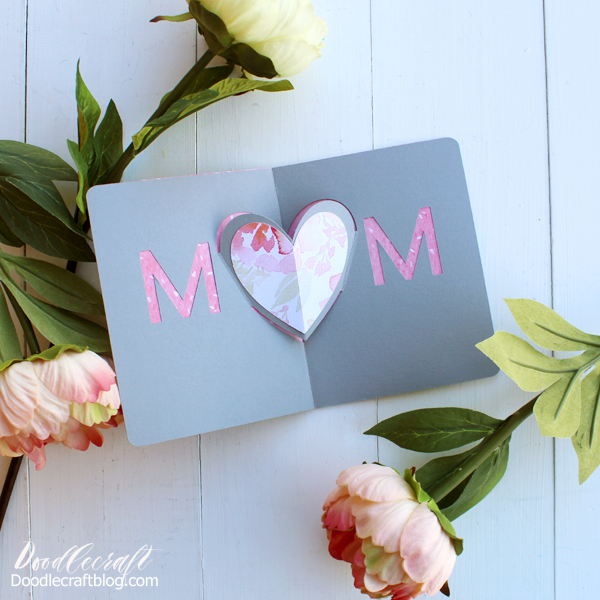 Make a gorgeous heart pop-up card for mother's day using the Cricut Maker and floral paper.