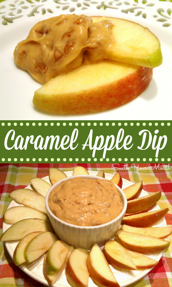 An easy caramel apple dip recipe made with cream cheese, caramel and toffee bits served with apple slices for dipping.