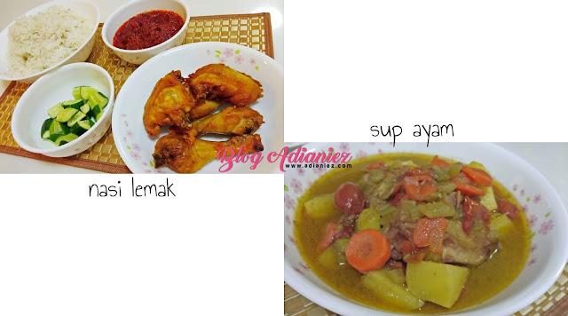 nasi lemak ayam goreng dan sup ayam