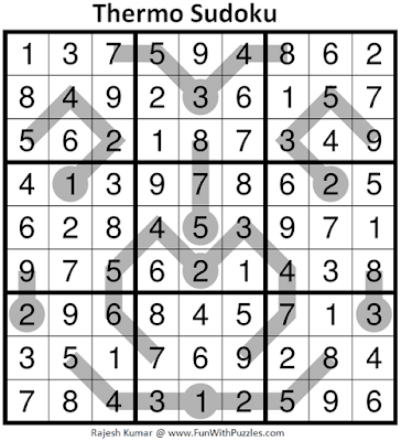 Answer of Thermometer Sudoku Puzzle (Fun With Sudoku #393)