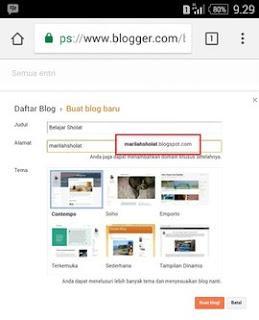 Memilih Alamat Blog di Blogger Lewat HP