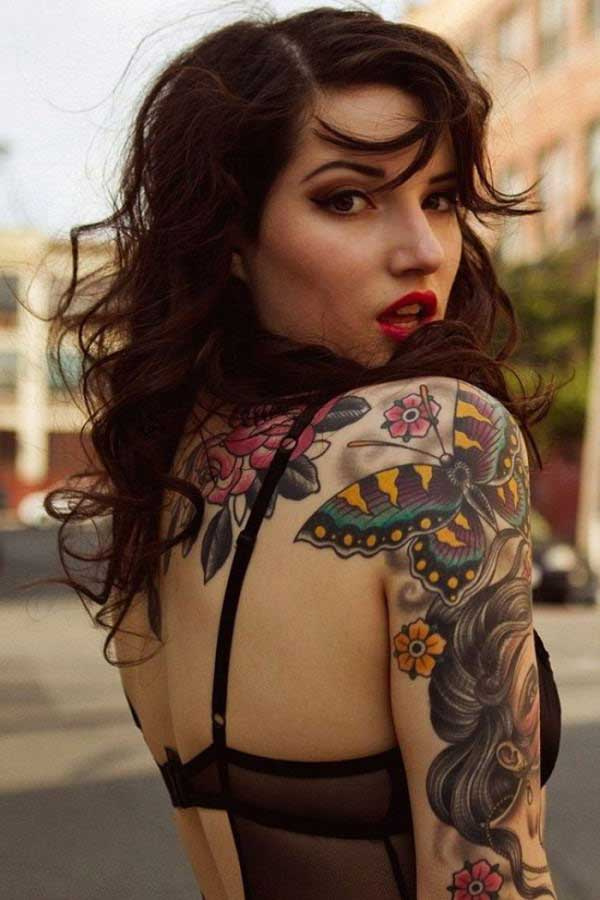 pin up girl butterfly tattoo