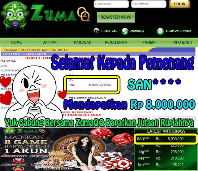 ZumaQQ BandarQ Online Terpercaya Selamat Kepada Pemenang Periode 31 Juli 2019