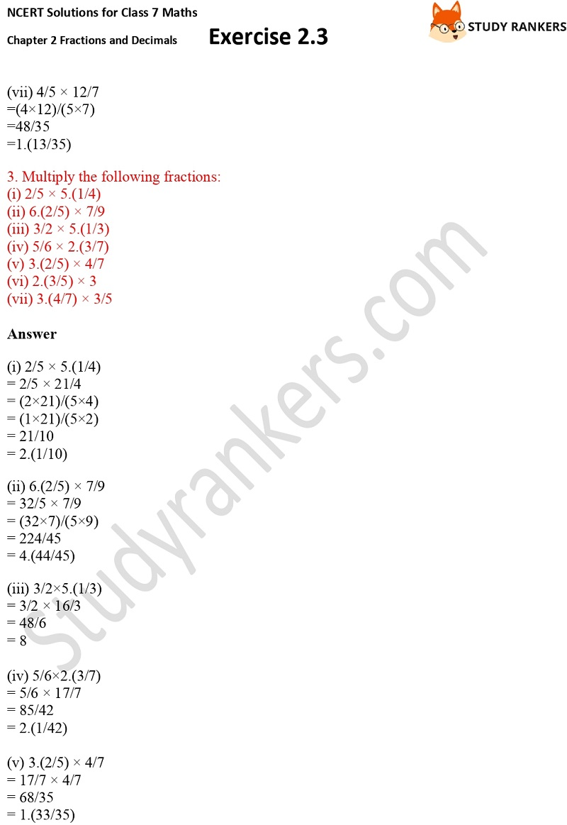NCERT Solutions for Class 7 Maths Ch 2 Fractions and Decimals Exercise 2.3 3