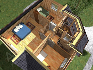 rustic-style-cabin-3d-floor-plans-with-one-master-room-and-one-bedroom-and-wooden-interior
