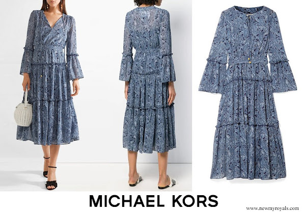 Crown Princess Mary wore MICHAEL KORS jacquard print maxi dress
