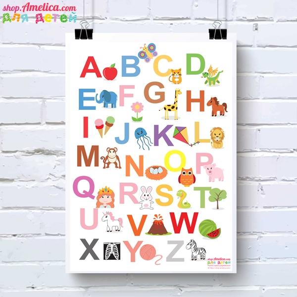 """Красивый постер """"English alphabet"""" для детей."""