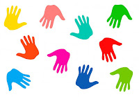 Handprints in a variety of bright colors