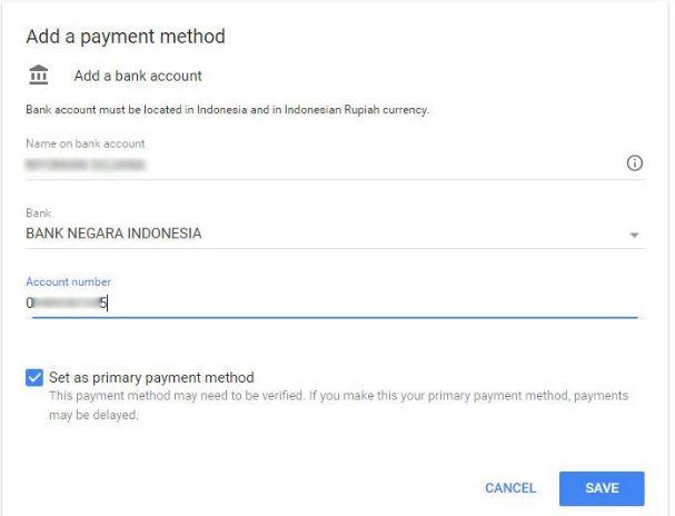 verifikasi rekening bank dari google adsense - isi identita srekening