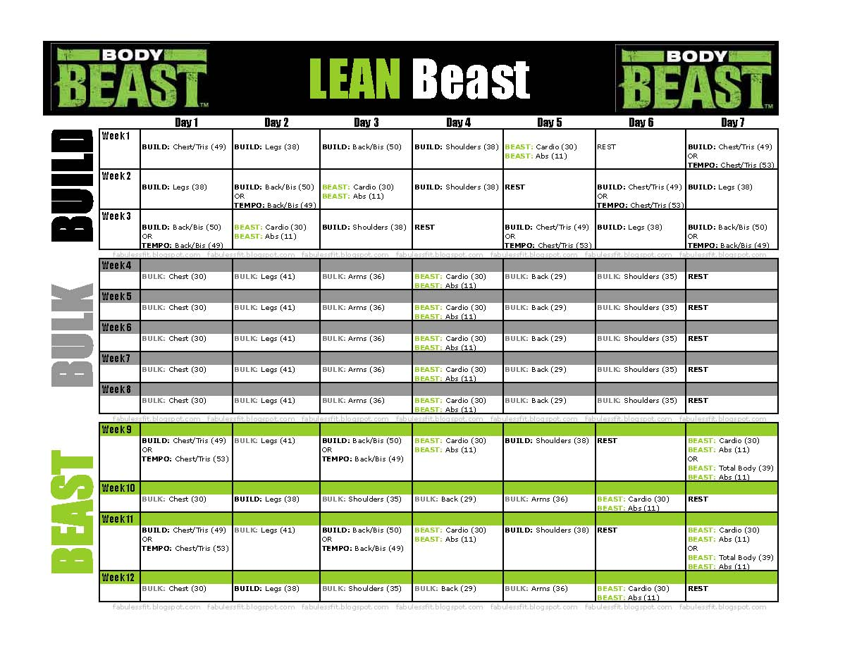 Body Beast Tempo Workout Sheets