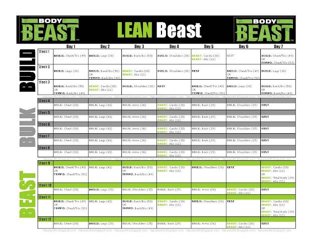 Body Beast FabUless Fitness - beast workout sheet