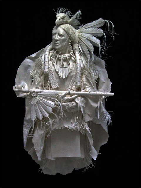 Paper Sculpture Native American Figures