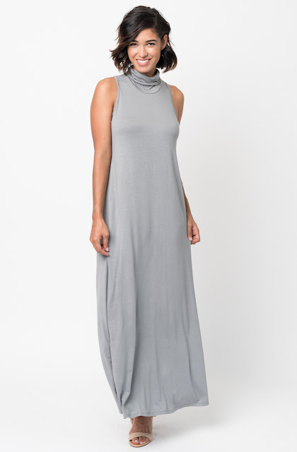 Shop for Grey Sleeveless Turtleneck Collar Mock Neck Maxi dress online on caralase.com