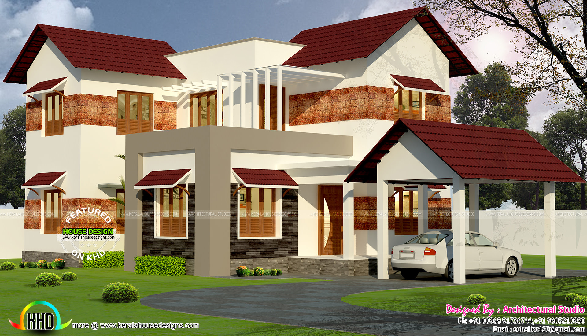 4 bedroom sloping roof mix modern home kerala home for Modern sloped house design