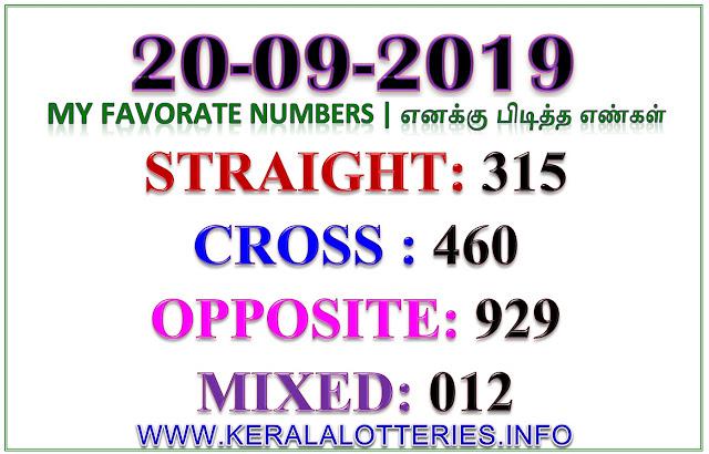 Kerala Lottery Guessing Favorite Numbers 20.09.2019