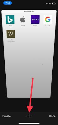 How to add a tab in safari iPhone