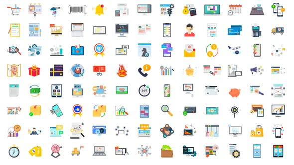 Videohive - 100 Digital Marketing & E-Commerce Icons 28780374